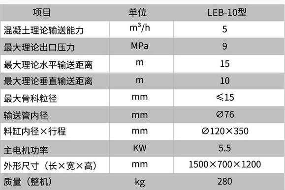 二次结构柱输送泵技术参数